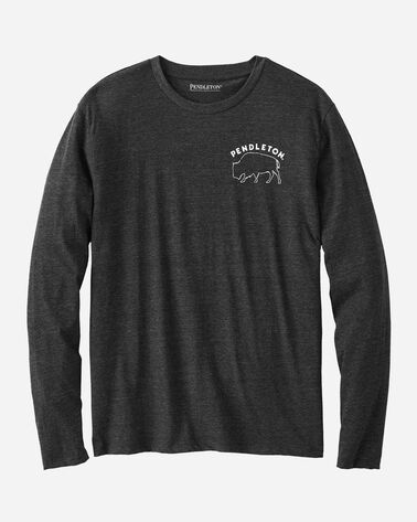 MEN'S LONG-SLEEVE BISON TEE, CHARCOAL HEATHER, large