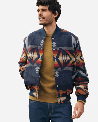 ALTERNATE VIEW OF MEN'S GORGE SNAP-FRONT WOOL JACKET IN NAVY PLAINS STAR