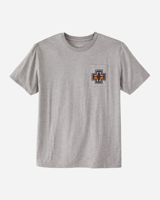 MEN'S EMBROIDERED POCKET TEE IN GREY HEATHER YOSEMITE