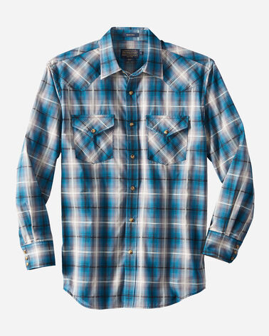 LONG-SLEEVE FRONTIER SHIRT, TEAL/GREY PLAID, large