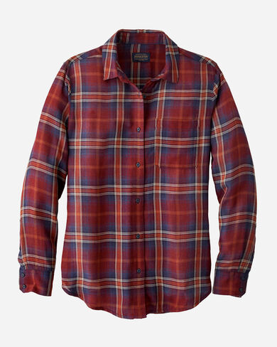 WOMEN'S HELENA BUTTON FRONT SHIRT IN RUST PLAID