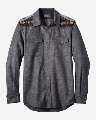 FITTED PIECED JACQUARD CANYON SHIRT IN OXFORD GREY MIX