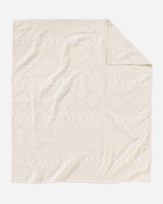 ALTERNATE VIEW OF GANADO COTTON MATELASSE THROW IN BEIGE