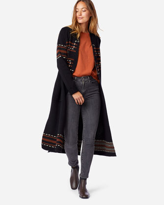 WOMEN'S LAMBSWOOL DUSTER SWEATER IN BLACK SANTA ROSA