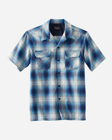 MEN'S SHORT-SLEEVE BOARD SHIRT IN BLUE/NAVY OMBRE PLAID