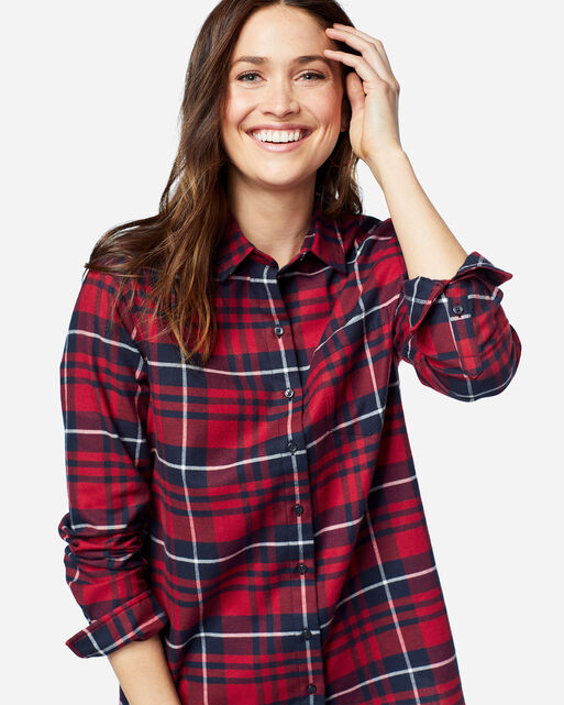 FAVORITE FLANNEL SHIRT, RED/NAVY PLAID, large