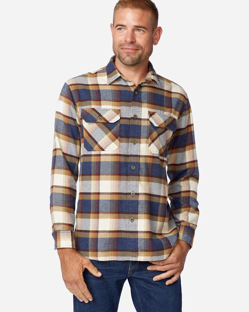 BURNSIDE DOUBLE-BRUSHED FLANNEL SHIRT IN BLUE/CREAM/HENNA PLAID