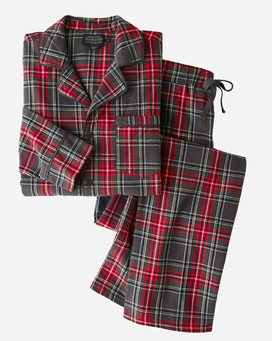FLANNEL PAJAMA SET, GREY STEWART TARTAN, large
