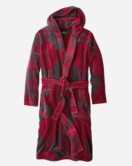 MEN'S JACQUARD COTTON TERRY ROBE IN RED