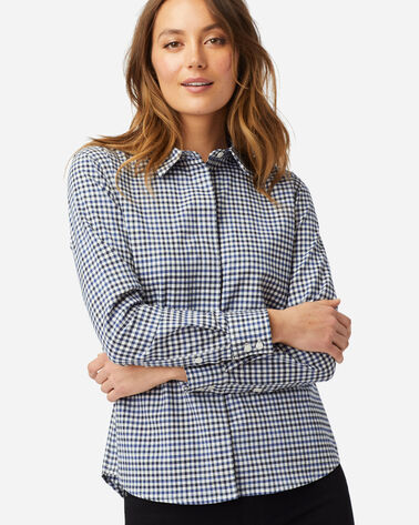 WOMEN'S STRETCH MERINO COOPER SHIRT IN WHITE/BLUE CHECK