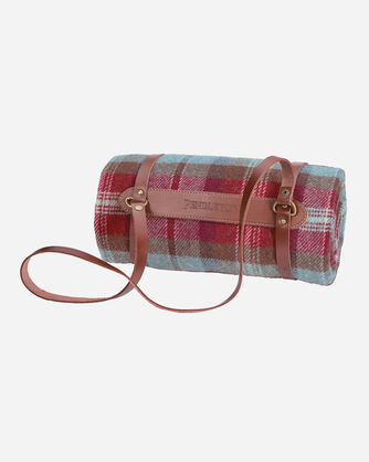 ADDITIONAL VIEW OF MOTOR ROBE WITH LEATHER CARRIER IN RUBY BEACH PLAID