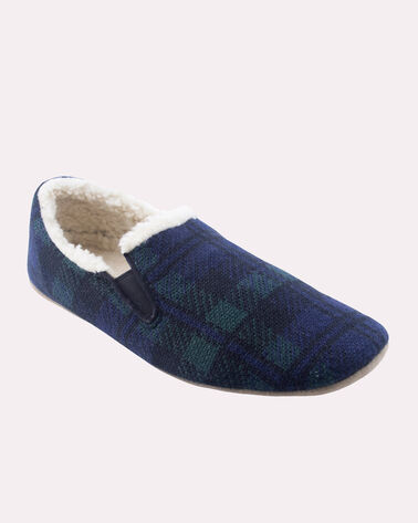 BLACK WATCH PLAID NOMAD SLIPPERS, NAVY BLACK WATCH, large