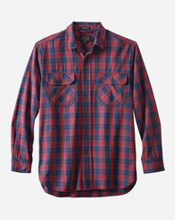 BURNSIDE TWILL SHIRT, NAVY/RED PLAID, large