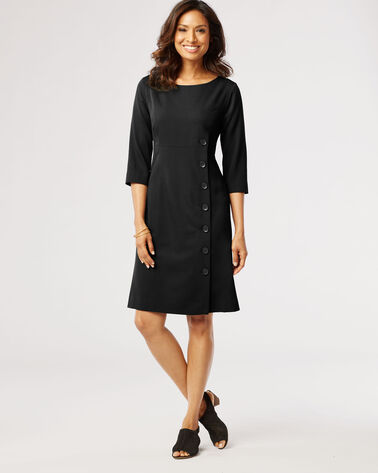 SEASONLESS WOOL DRESS, BLACK, large