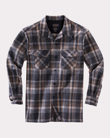 BIG BOARD SHIRT, GREY/GOLD PLAID, large