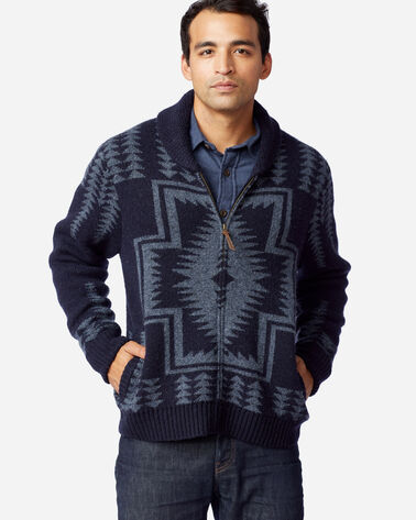 MEN'S HARDING ZIP CARDIGAN IN NAVY/BLUE