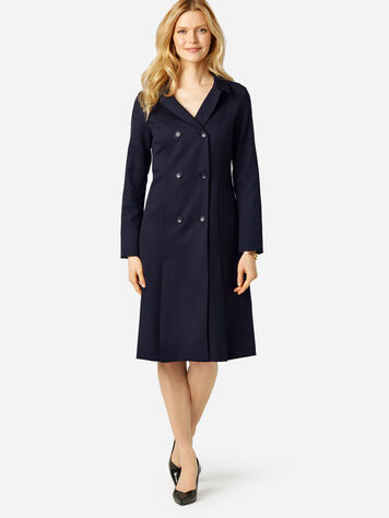 SEASONLESS WOOL FLORENCE COAT DRESS IN MIDNIGHT NAVY
