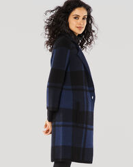 BLOCK PLAID COATIGAN, BLACK/BALTIC BLUE, large