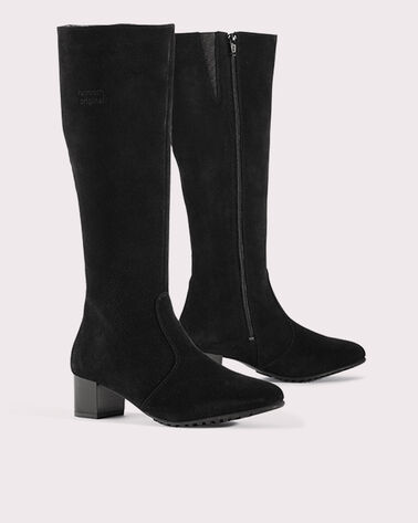 KNEE HIGH SUEDE BOOTS, BLACK, large