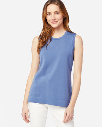 WOMEN'S COLBY SLEEVELESS CREW IN BLUE HORIZON