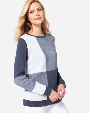 WOMEN'S BOX PLAID SWEATER, INDIGO/WHITE, large