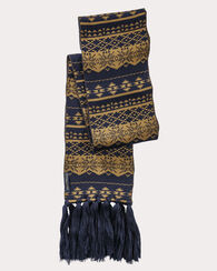 LONG FRINGED SCARF, NAVY/TAPENADE, large