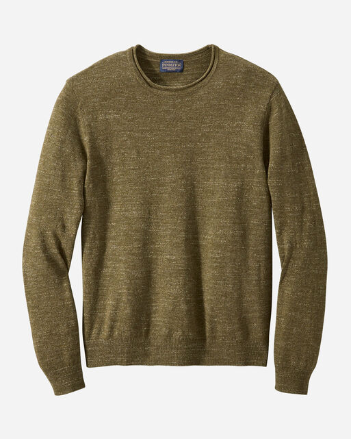 MEN'S ROLL NECK CREW SWEATER, OLIVE GREEN, large