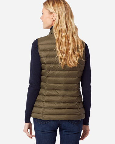 WOMEN'S ZIP-FRONT DOWN VEST, MILITARY OLIVE, large