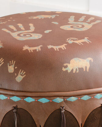 ADDITIONAL VIEW OF NEWSPAPER ROCK OTTOMAN IN ACORN/CHOCOLATE