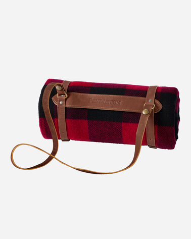 ADDITIONAL VIEW OF MOTOR ROBE WITH LEATHER CARRIER IN ROB ROY TARTAN