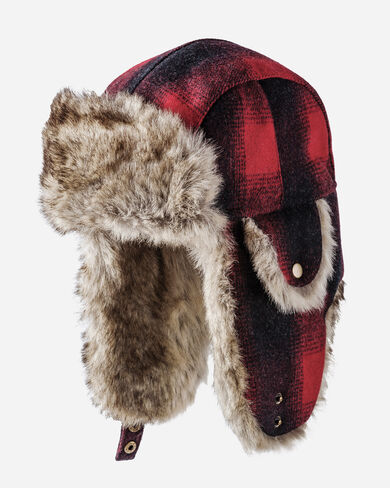 BUFFALO CHECK TRAPPER HAT, RED/BLACK OMBRE, large