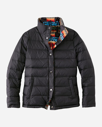 WOMEN'S PACKABLE DOWN REVERSIBLE JACKET IN BLACK CHIEF JOSEPH