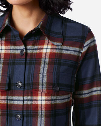 ADDITIONAL VIEW OF WOMEN'S ULTRALUXE MERINO HARLOW SHIRT IN NAVY/RED LARGE PLAID