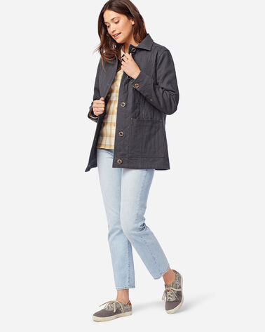 WOMEN'S FERN QUILTED CANVAS BARN COAT IN SLATE GREY