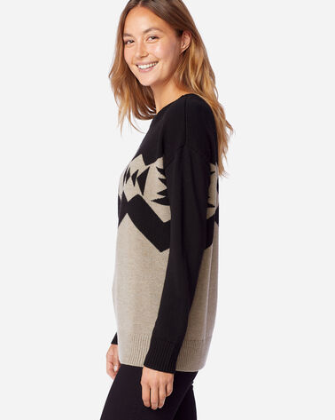 ALTERNATE VIEW OF WOMEN'S SONORA MERINO PULLOVER IN TAUPE HEATHER/BLACK