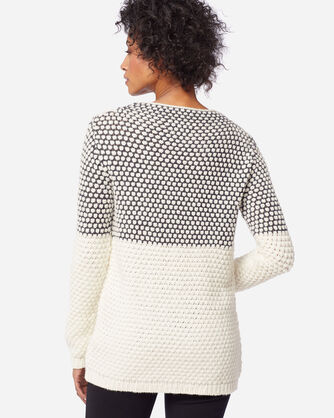 ADDITIONAL VIEW OF WOMEN'S TEXTURED FUNNEL NECK PULLOVER IN CHARCOAL/IVORY