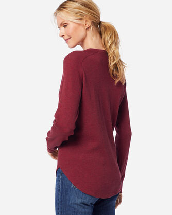 ADDITIONAL VIEW OF WOMEN'S LONG-SLEEVE THERMAL HENLEY IN RED ROCK HEATHER
