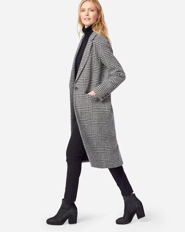 WOMEN'S HUDSON LONG COAT, BLACK/IVORY GLEN PLAID, large