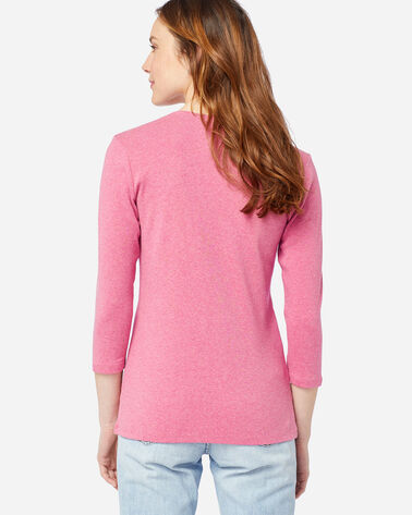 ALTERNATE VIEW OF WOMEN'S THREE-QUARTER SLEEVE V-NECK TEE IN RASPBERRY HEATHER