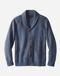 BISON SHAWL-COLLAR CARDIGAN, BLUE, large