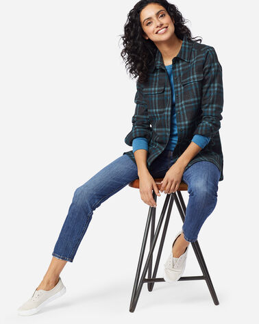WOMEN'S BOARD SHIRT IN CHARCOAL/TEAL PLAID