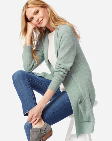 WOMEN'S MERINO/CASHMERE RIB CARDIGAN, SILVER GREEN HEATHER, large