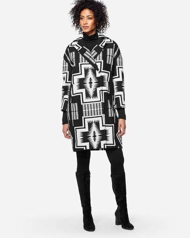HARDING COCOON COAT, BLACK/IVORY, large
