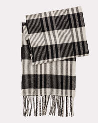 WHISPERWOOL MUFFLER, BLACK/WHITE PLAID, large