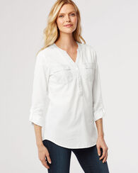 ROLL-SLEEVE EASY SHIRT, WHITE, large