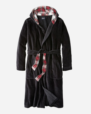 MEN'S SOLID COTTON ROBE IN CHARCOAL