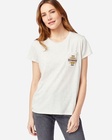 WOMEN'S EMBROIDERED POCKET TEE IN LIGHT TAN HEATHER