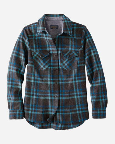 WOMEN'S WOOL SHANIKO WESTERN SHIRT IN CHARCOAL/TEAL PLAID