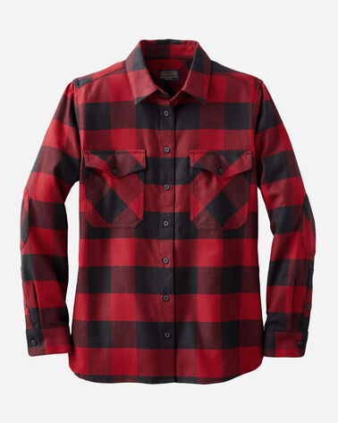WOMEN'S DOUBLE-BRUSHED FLANNEL ELBOW PATCH SHIRT, BLCK/RED ROCK BUFF CHCK, large