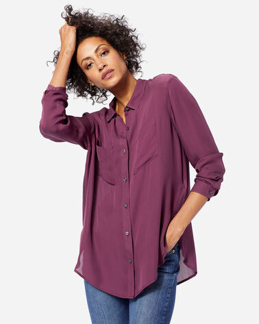ADDITIONAL VIEW OF WOMEN'S LONG-SLEEVE SILK BUTTON-UP SHIRT IN FIG